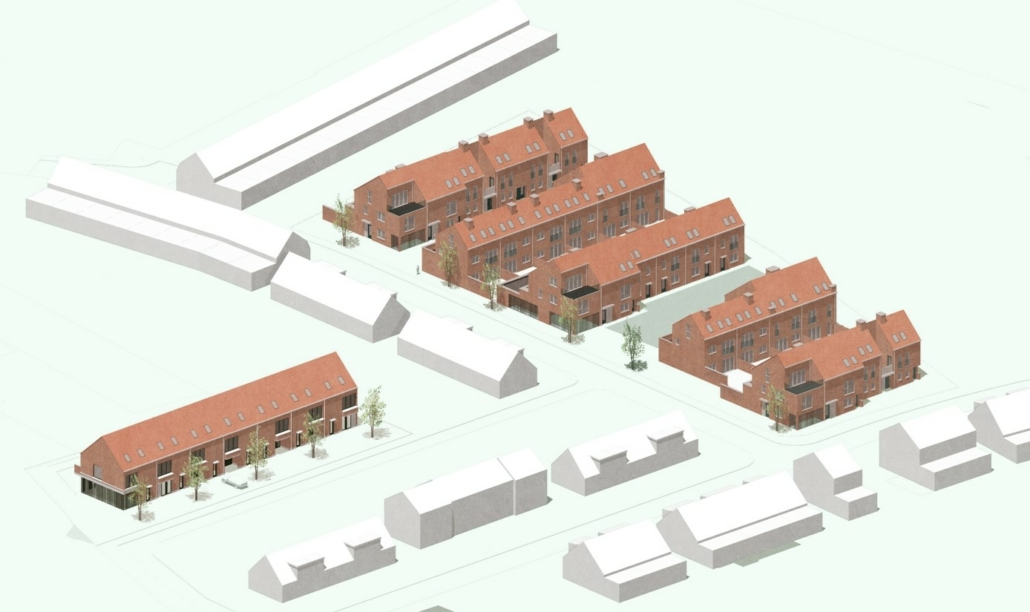 3D visualisatie vervangingsbouwproject MASTERPLAN NB2+3: Rode Kruislei, Lage Weg en Bruggelanden te Duffel