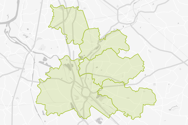 Kaart van Duffel en omgeving